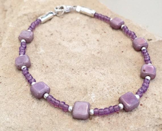 Purple bracelet, Czech glass tile bead bracelet, seed bead bracelet, sterling silver bracelet, boho bracelet, gift for her, gift for wife