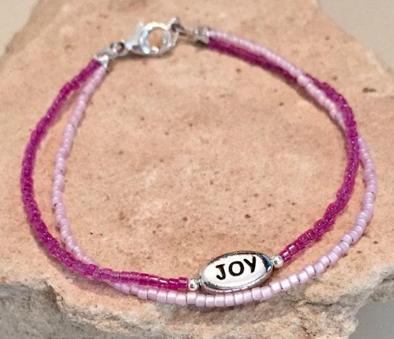 "Pink and purple double strand seed bead bracelet, seed bead bracelet, sterling silver bracelet, message bracelet, ""Joy"" word bead, boho chic"
