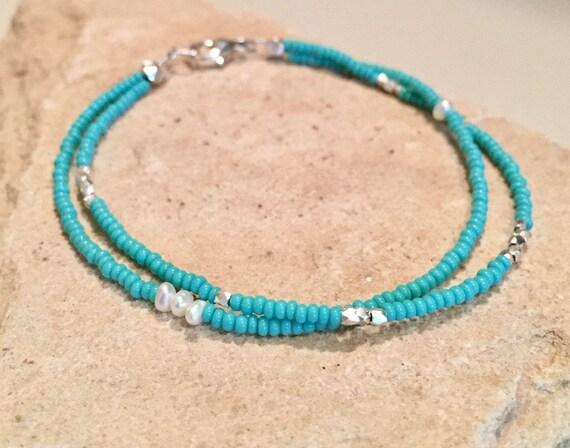 Turquoise double strand seed bead bracelet, Hill Tribe bracelet, pearl bracelet, everyday bracelet, stackable bracelet, gift for her, boho