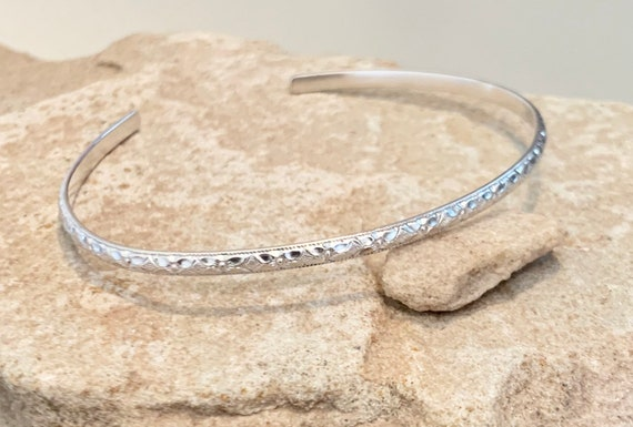 Sterling silver cuff bracelet, delicate cuff bracelet, stackable sterling silver bracelet, silver bracelet, gift for her, everyday jewelry