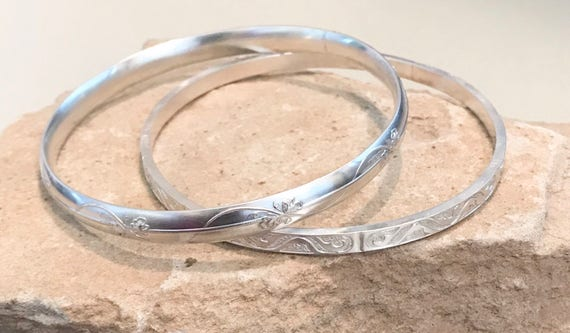 Sterling silver bangle bracelets, pattern bangle bracelets, stackable sterling silver bracelets, silver cuff bracelet, gift for her
