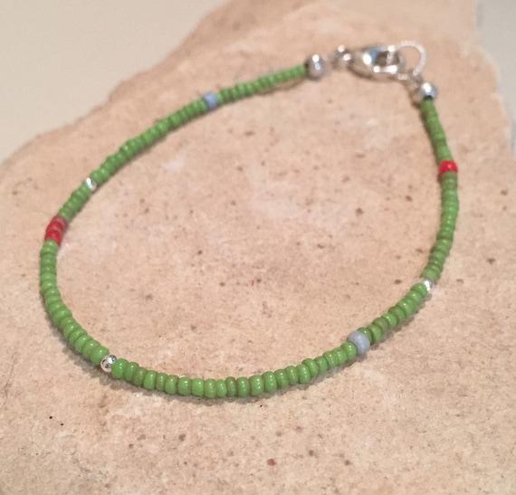 Green bracelet, glass seed bead bracelet, sterling silver bracelet, Hill Tribe silver bracelet, sundance bracelet, boho bracelet, boho chic