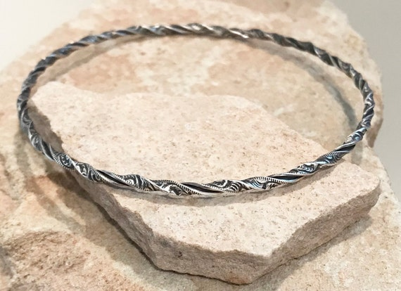 Oxidized sterling silver bangle bracelet, twisted bangle bracelet, stackable sterling silver bracelet, silver patina bracelet, gift for her