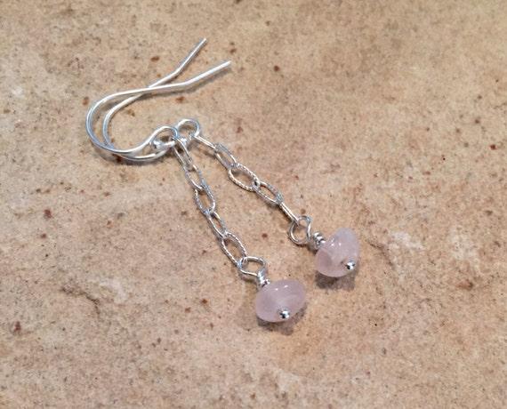 Pretty pink drop earrings, rose quartz earrings, sterling silver chain earrings, pink dangle earrings, silver dangle earrings, gift for her