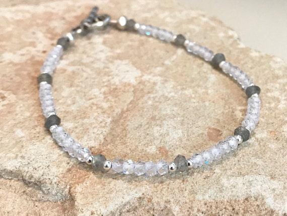 Crystal bracelet, gray bracelet, labradorite gemstone bracelet, crystal quartz bracelet, Hill Tribe silver bracelet, everyday bracelet