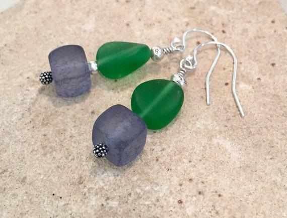 Green and blue dangle earrings, frosted glass earrings, Hill Tribe silver earrings, sundance earrings, silver dangle earrings, boho chic