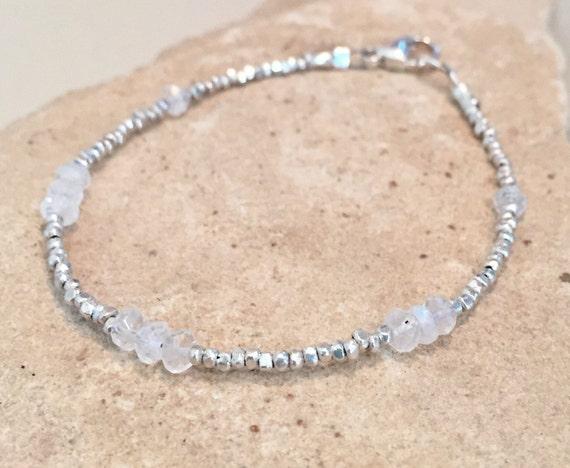 Moonstone bracelet, sterling silver bracelet, sundance bracelet, Hill Tribe silver bracelet, gemstone bracelet, gift for her, boho chic