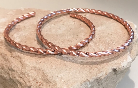 Twisted copper bangle bracelet, copper cuff bracelet, twisted bangle or cuff bracelet, stackable copper bracelet, gift for her, simple cuff