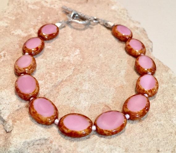 Pink bracelet, Czech oval glass bead bracelet, Hill Tribe silver bracelet, sundance bracelet, summer bracelet, gift for her everyday jewelry