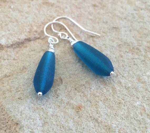 Blue seaglass drop earrings, frosted glass teardrop earrings, Hill Tribe silver earrings, dangle earrings, sundance earrings, gift for wife