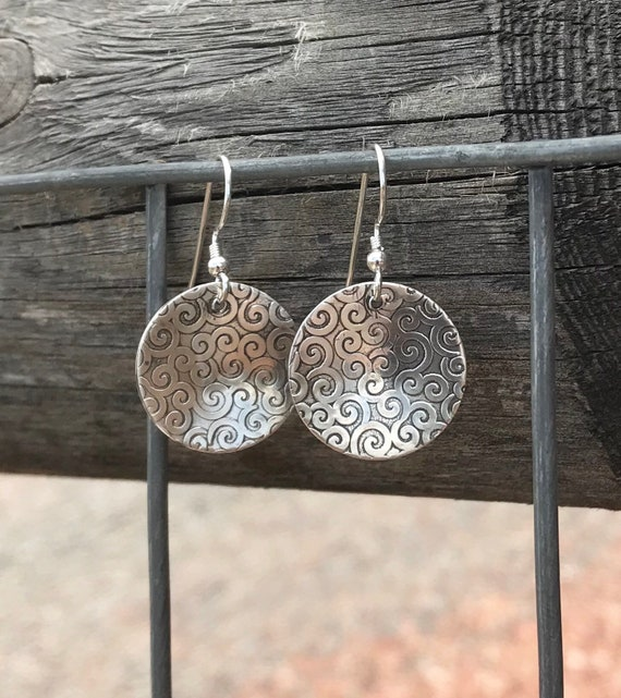 Sterling silver dangle earrings, handmade sterling silver earrings, silver drop earrings, oxidized silver drop earrings, round earrings