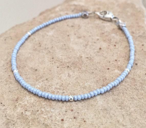 Blue seed bead bracelet, boho bracelet, small bracelet, sterling silver bracelet, delicate bracelet, gift for her, yoga bracelet, boho chic