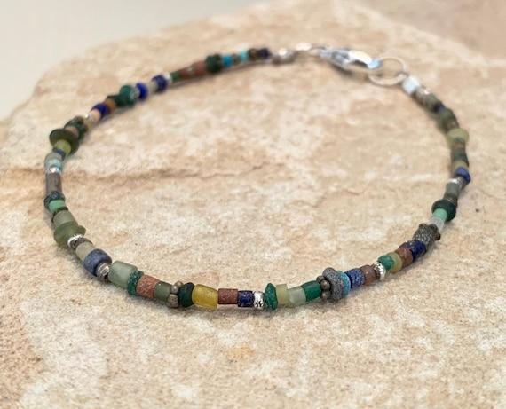 Turquoise and lapis bracelet, blue bracelet, green bracelet, Hill Tribe silver bracelet, everyday bracelet, dainty bracelet, boho chic