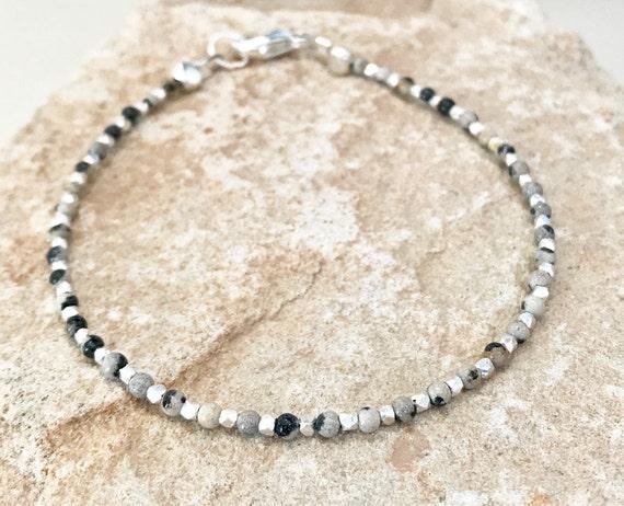 Dalmatian jasper bracelet, brown bracelet, sterling silver bracelet, Hill Tribe silver bracelet, gift for her, layering bracelet, mom gift