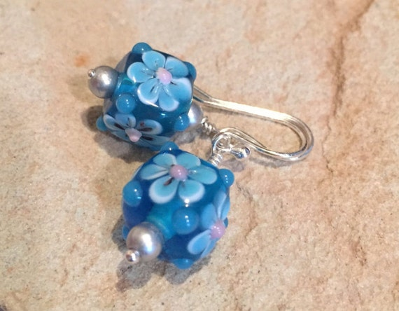 Blue lampwork glass drop earrings, dangle earrings, sterling silver drop earrings, blue dangle earrings, lampwork glass earrings, gift