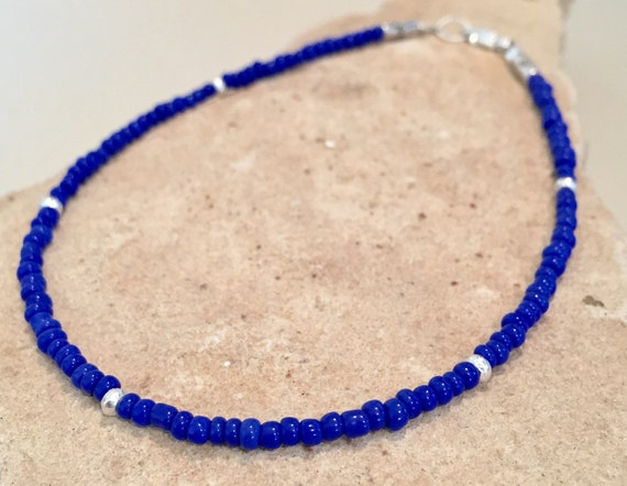 Blue or black seed bead anklet/ankle bracelet, seed bead anklet, Hill Tribe silver anklet, body jewelry, boho anklet, small anklet, boho