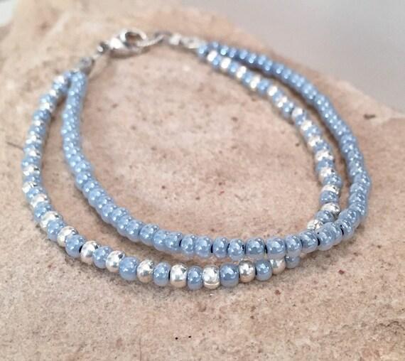 Blue double strand seed bead bracelet, Czech glass seed bead bracelet, Hill Tribe silver bracelet, sundance bracelet, boho chic bracelet
