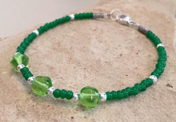 Green bracelet, Czech glass seed bead bracelet, sterling silver bracelet, beach bracelet, yoga bracelet, gift for her, bead bracelet