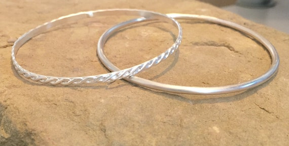 Sterling silver bangle bracelets, patterned bangle bracelet, stackable sterling silver bracelets, stackable bangle bracelets, gift for her