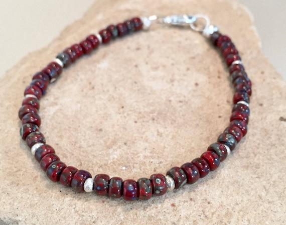 Black seed bead bracelet, Red is sold out, Hill Tribe silver bracelet, boho bracelet, gift for her, gift for wife, cute bracelet