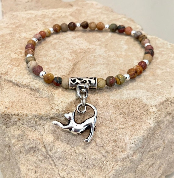 Brown bracelet, bracelet for cat lover, cat bracelet, gemstone bracelet, stretch bracelet, jasper bracelet, gift for cat lover, boho chic