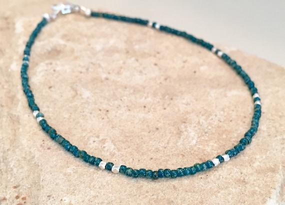 Blue seed bead ankle bracelet, Hill Tribe silver ankle bracelet, seed bead anklet, body jewelry, dainty anklet, gift for her, blue anklet