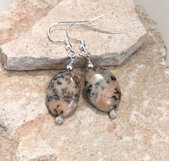 Natural jasper earrings, stone earrings, chunky earrings, Hill Tribe silver earrings, statement earrings, gift for her, gift for wife