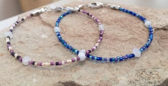Purple or blue seed bead bracelet, moonstone bracelets, boho bracelets, small bracelet, yoga bracelets, dainty bracelets, silver bracelets