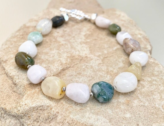 Pastel bracelet, beryl morganite gemstone bracelet, Hill Tribe silver bracelet, silver bracelet, chunky braclet, statement bracelet, boho