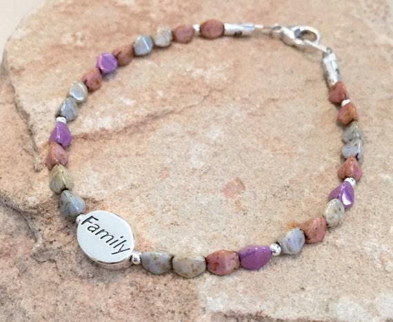 """Multicolored bracelet, Czech glass beads, sterling silver bracelet, message bracelet, """"Family"""" word bead, charm bracelet, gift for her"""