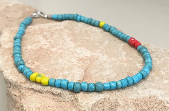 Blue, yellow and red seed bead ankle bracelet, small anklet, boho anklet, everyday anklet, gift for her, gift for wife boho chic cute anklet
