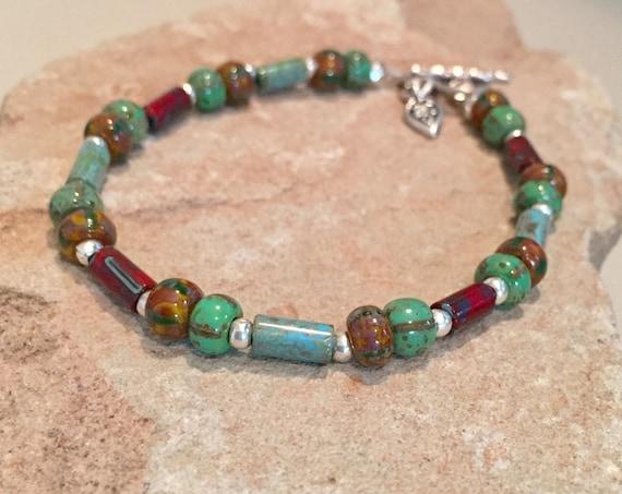 Multicolored bracelet, Czech beads, Hill Tribe silverbracelet, sterling silver bracelet, heart charm, charm bracelet gift for her boho style