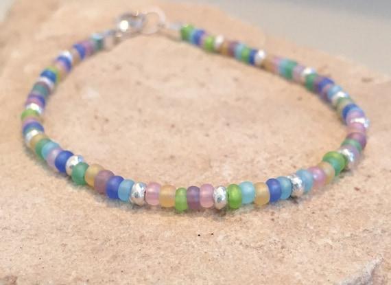 Multicolored bracelet, Czech glass bead bracelet, Hill Tribe silver bracelet, boho bracelet, small bracelet, minimalist bracelet, boho chic
