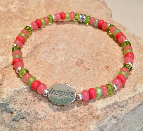 Multicolored bracelet, message bracelet, Czech glass seed bracelet, Hill Tribe silver bracelet, word bead bracelet, charm bracelet, boho