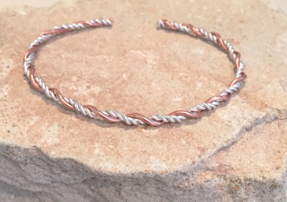 Sterling silver and copper cuff bracelet, twisted cuff bracelet, stackable silver and copper bracelet, stackable bangle, silver bracelet