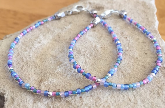 Pink, purple and blue pastel seed bead mother-daughter bracelet set, sterling silver bracelet set, gift for mom, gift for daughter