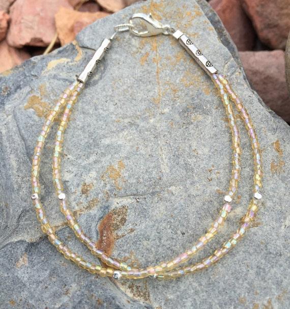 Pale yellow double or single strand seed bead bracelet, Czech glass seed bead bracelet, sterling silver bracelet, dainty bracelet, boho chic