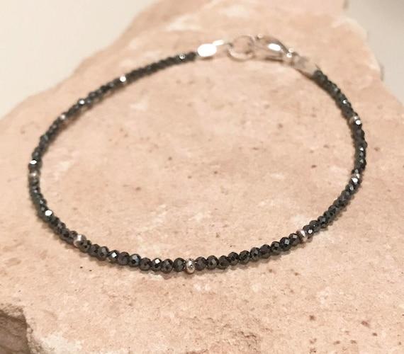 Black bracelet, hematite bracelet, sterling silver bracelet, Hill Tribe silver bracelet, single strand bracelet sundance bracelet, boho chic
