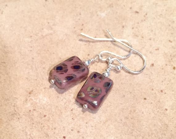 Pink drop earrings, Czech glass bead bracelet, sterling silver dangle earrings, cute earrings, gift for her, gift for wife, fall earrings
