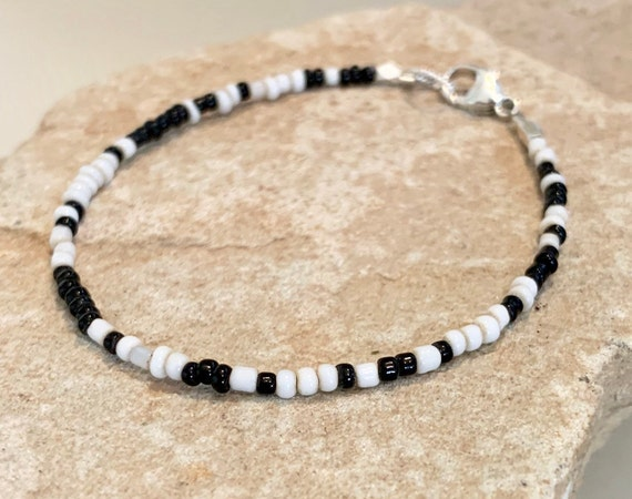 black and white seed bead bracelet, African seed bead bracelet, sterling silver bracelet, boho bracelet, gift for her, gift for wife