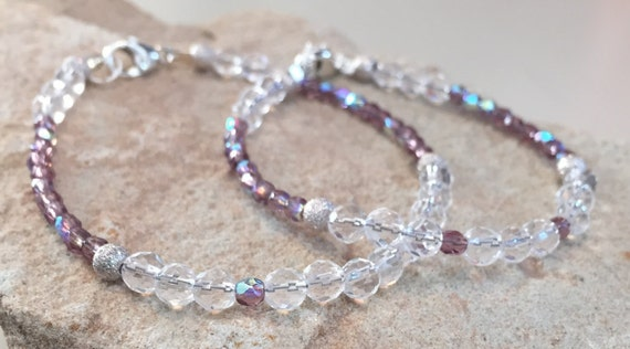 Purple or blue mother daughter bracelets, crystal quartz bracelets, mom daughter set, gift for mom, gift for daughter, sterling silver set