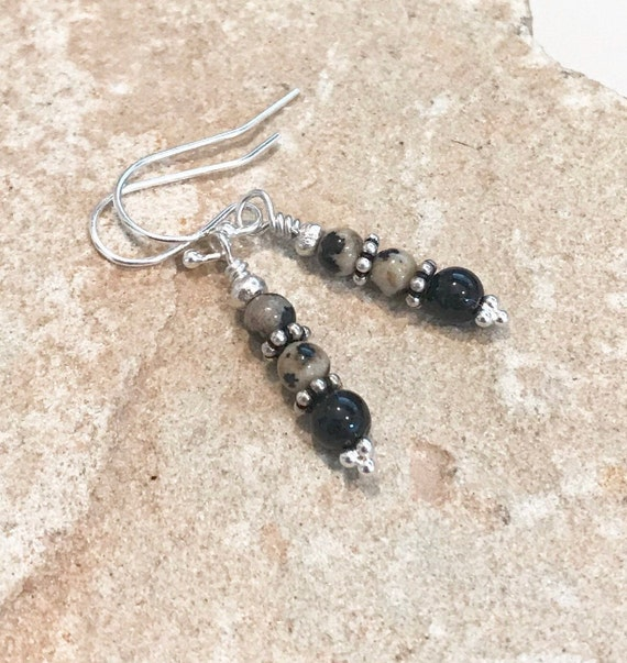 Black and tan drop earrings, tiger eye earrings, dalmatian jasper earrings, Hill Tribe silver earrings, sundance earrings, gift for her