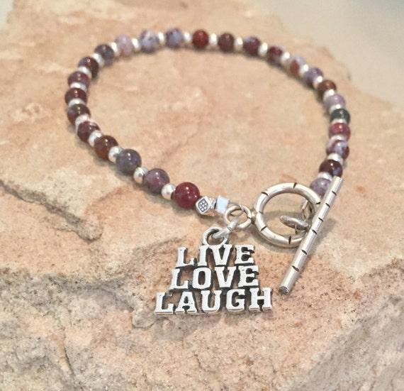 Red bracelet, message bracelet, charm bracelet, agate bracelet, Hill Tribe silver bracelet, positive bracelet, sundance bracelet, boho chic