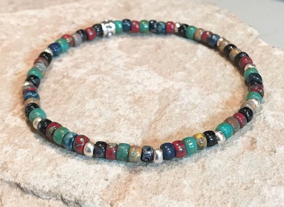 Multicolored seed bead bracelet, boho bracelet, everyday bracelet, summer bracelet, yoga bracelet, elastic bracelet, stretch bracelet, boho