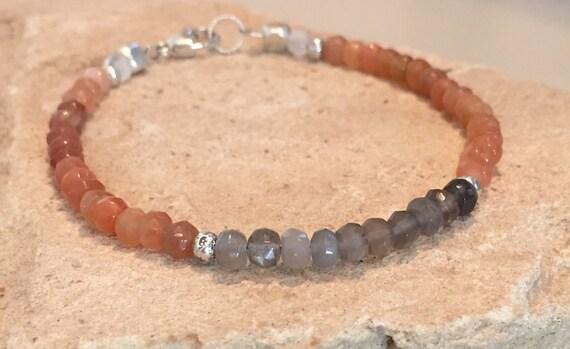 Moonstone bracelet, peach and gray moonstone beads, Hill Tribe silver bracelet, gemstone bracelet, natural bracelet, gift for her, boho chic