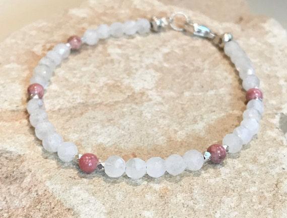 Pink bracelet, rhodonite bracelet, gemstone bracelet, mooonstone bracelet, Hill Tribe silver bracelet, sundance bracelet, gift for her