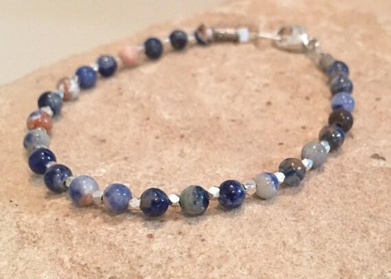 Blue bracelet, sodalite bracelet, gemstone bracelet, sterling silver bracelet, Hill Tribe silver bracelet, sundance bracelet, boho chic