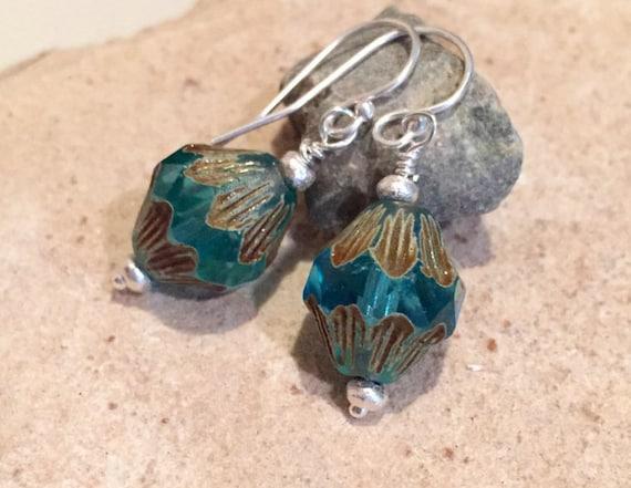 Blue drop earrings, Czech fire-polished bicone beads, blue dangle earrings, Hill Tribe silver earrings, boho earrings, silver drop earrings