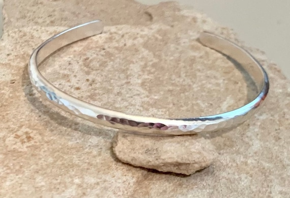 Sterling silver hammered cuff bracelet, hammered bracelet, stackable sterling silver bracelet, stackable bracelet, gift for her, boho chic