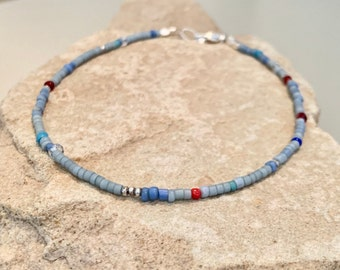 Blue seed bead ankle bracelet, small anklet, Hill Tribe silver anklet, boho anklet, dainty anklet, gift for her, gift for wife, funky anklet